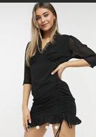 Wednesday's Girl Dress Size XS & M V Neck Lace Trim Black Tea Dress NEW GM41