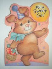 "Hallmark ~ EMBOSSED ""FOR A SWEET GIRL"" BIRTHDAY GREETING CARD + ENVELOPE"