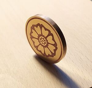"""Handmade Brass Coin 40mm """"White Lotus"""" (coin 1 of 3)"""