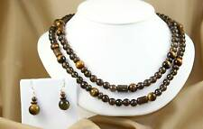 Tiger Eye, Australian Ironstone Long Necklace, Earrings