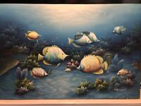 Original Signed C. Benolt Oil On Canvas Sea Life Painting Not Framed