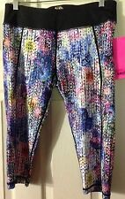 Betsey Johnson Performance Women's Black Multi Color Workout Pants Sz L NWT