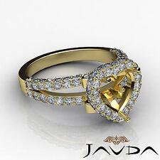 Diamond Engagement Heart Shape Ring 1.55Ct 14k Yellow Gold Halo Pave Semi Mount