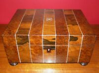 Antique Victorian Rosewood and Burl Wood Sewing Box w/ MOP Inlay & Interior