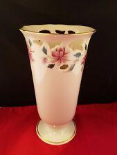 """Vintage Lenox Ivory  Pierced Pedestal Vase Floral 24K Trim 8.5"""" h"""