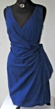 Ann Taylor LOFT Women's Dress Wrap Sleeveless Cotton Stretch Blue size 8 Medium