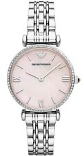 New Emporio Armani AR1779 Gianni T-Bar Mother of Pearl Silver Women's Watch