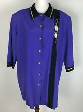 Vintage 20 2Xl Button Down Up Blouse Top Clock Embroidered Purple Gold 80s