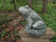 Large Smiling Cement Sitting Frog Garden Art Green Patina Concrete Statue Ju 00004000 mbo