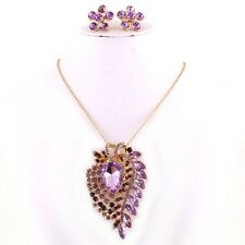 18k Gold Plated Broche/Pendant Chain & Earrings Purple Rhinestone Set