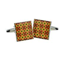 Funky Retro Red Yellow and Brown Small Pattern Cufflinks X2BOCS255