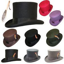 100% Wool Felt Top Hat High Quality Hand Made Wedding Event Fancy Dress S-XXL