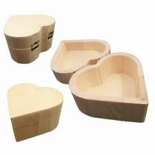 Wooden Heart Shaped Small Storage Box To Personalise Decorate Paint Craft 10 cm