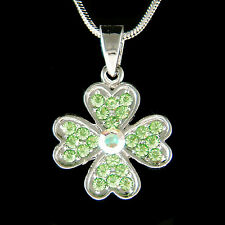 Irish w Swarovski Crystal ~4 Leaf Clover Lucky Shamrock St Patricks Day Necklace