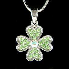 Irish w Swarovski Crystal ~4 Leaf Clover Lucky Shamrock St Patricks Day Necklace