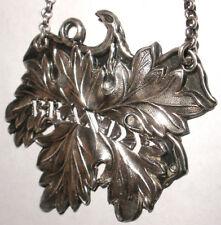 Antique Brandy Wine Decanter Label  Sterling Silver aesthetic leaf design