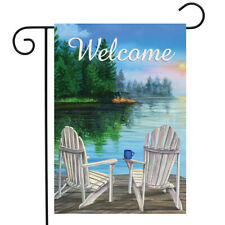 "Dockside Summer Garden Flag Welcome Lakeside Nautical 12.5"" x 18"" Briarwood Lane"