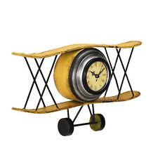 [en.casa]® Reloj de pared decorativo biplano diseño retro avión antiguo metal