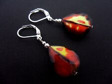 A PAIR OF SIMPLE RED/YELLOW TEARDROP SILVER PLATED LEVERBACK HOOK EARRINGS. NEW.