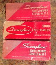 VINTAGE SWINGLINE METAL STAPLER AND LOT OF 3 BOXES SWINGLINE STAPLES 5000 SF-1