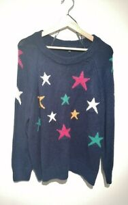 Next Size L Navy Blue Jumper With Multicoloured Star Pattern Long Sleeve