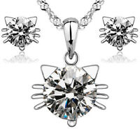 Hot products Fashion Jewelry Set Zircon 925 silver Cat necklace and earring