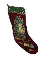 Vintage Needlepoint Christmas Stocking Velvet Holly Candle Stick Centerpiece