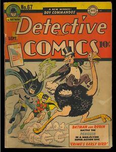 Detective Comics #67 Nice Unrestored 1st Penguin Cover Batman DC Comic 1942 VG-