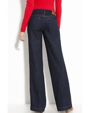 Tory Burch Rinse Low Rise Wide Leg Stretch Denim Jeans 28
