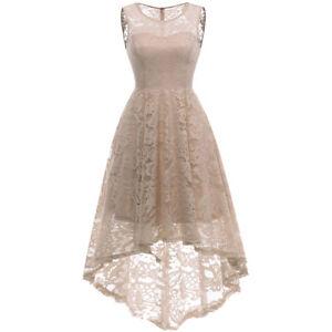 Women's Sheer Lace Hi-Lo Party Dress Cocktail Swing Semi-Formal Bridesmaid Dress