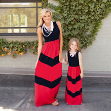 Family Dress Mother Daughter Matching Striped Womens Girls Long Maxi Dresses