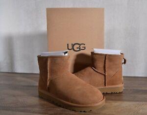 UGG Australia Classic Mini II Suede Sheepskin Boots 8 MED Chestnut #1016222 NEW