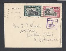 CEYLON 1940 WWII COLOMBO 6 CENSORED COVER JAFFNA TO WOOSTER OHIO USA