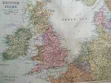 C1898 British Isles Large Original Antique Map Northern Europe Britain North Sea