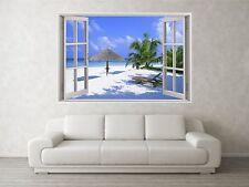 Beach Scene 3 3D Full Colour Window Home Wall Art Stickers Mural Decal