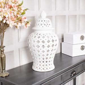 White Ginger Jar Storage Decor Display Lattice Vase Lid Home Decoration Gift