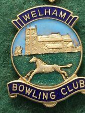 Vintage Enamel Bowling Bowls Club Badge Pin Welham Bowling Club