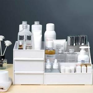 Plastic Cosmetic Organizer Makeup Case Holder Drawers Jewelry Storage Box white