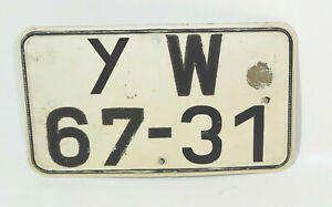 Old GDR License Plate Yw 67-31 Vintage Classic Car Garage Collector