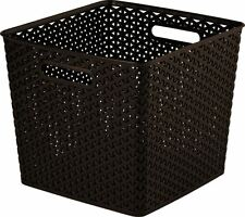 Curver Faux Rattan Brown Storage Organiser Wicker Style Box Basket 25L