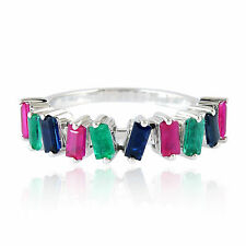 18K Solid Gold Genuine Emerald Ruby Blue Sapphire Ring Colorful Fashion Jewelry