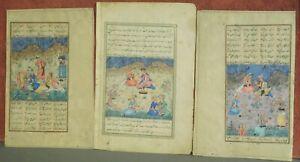 3 Original Antique Persian Style Minature Painting Kufic Text Court Garden Scene