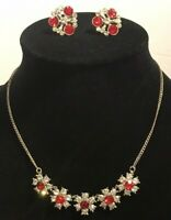 Vintage Red & Clear Rhinestone Necklace and Screw back Earrings Set Silvertone