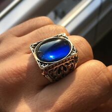 925 Sterling Silver Mens Ring Blue Sapphire Unique Handmade Turkish Jewelry 11