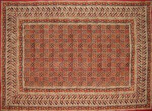 """Kalamkari Block Print Tapestry Cotton Bedspread 102"""" x 72"""" Twin Red/Bla"""