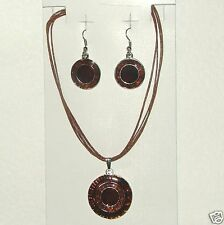 BROWN TONES ENAMEL SILVER PLATED PENDANT ON CORD NECKLACE free EARRINGS