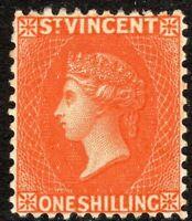 St Vincent 1883 orange-vermilion 1/- crown CA perf 12 mint SG45