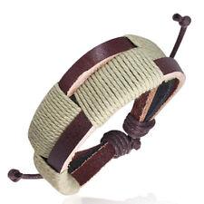 Bracelet homme Zense ZB0085 avec triple cuir et cordes enroulées couleur sable