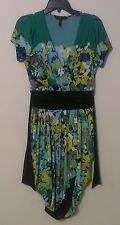 BCBG MAXAZRIA Faux Wrap Dress S Small Green Yellow Black Blue White Low Cut EUC