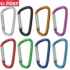 Carabiner Clip Snap Spring D Shape Aluminium Alloy Hooks Key Ring Hiking Camping